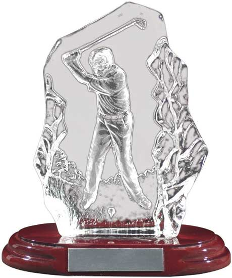 "Glass Golf Trophy - Female 7"" T11-17097"