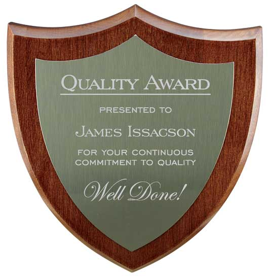 "Walnut Finish Hardwood Plaque - 6"" x 7"""