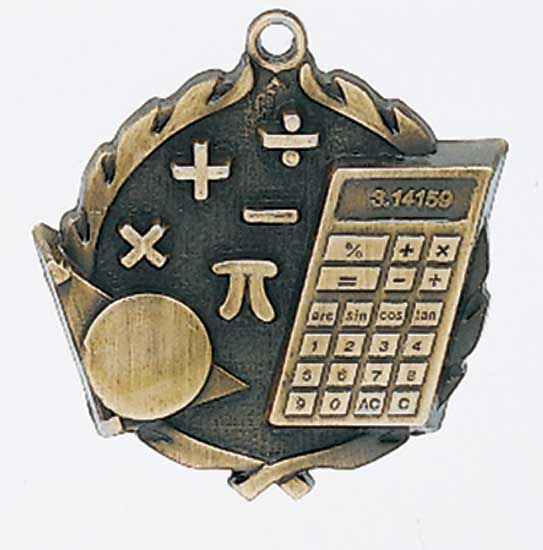 Math Die Cast Medal - 1 3/4""