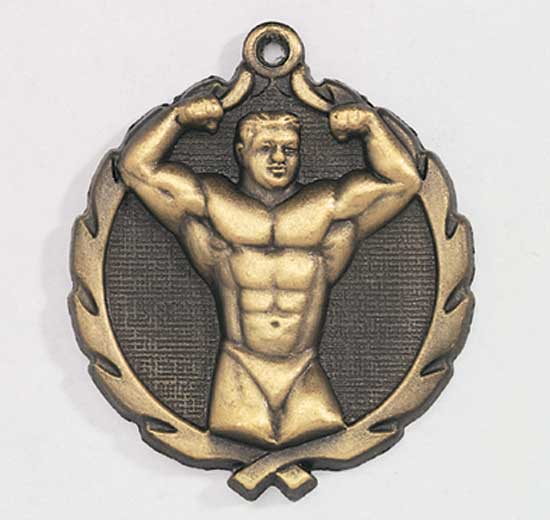 Male Body Building Die Cast Medal - 1 3/4""