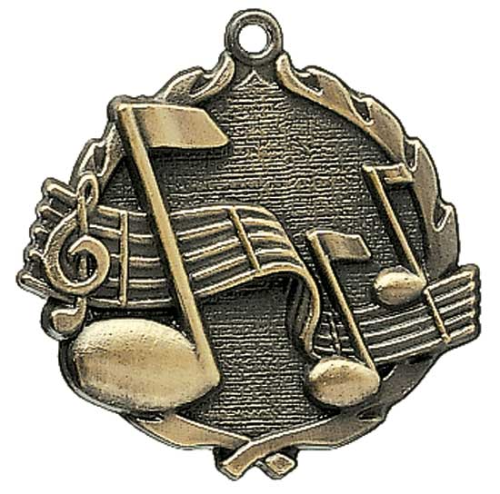 Music Die Cast Medal - 1 3/4""