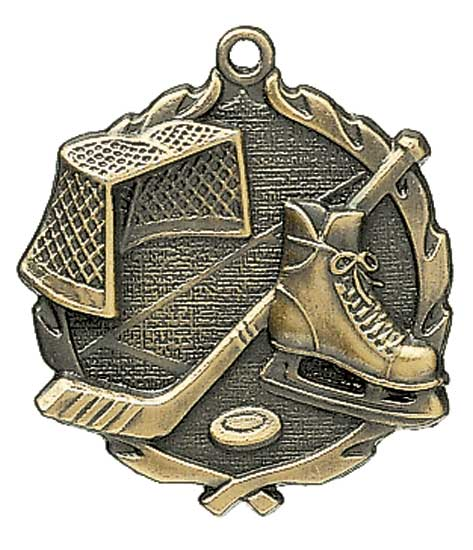 Ice Hockey Die Cast Medal - 2 1/2""