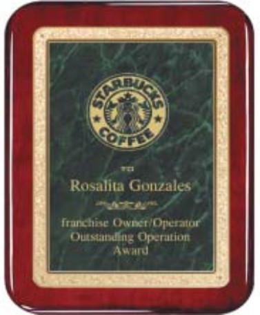 "Rosewood Plaque - Green 8"" x 10"" Rounded"