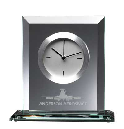 "Bevelled Glass Clock 7"" x 7"""