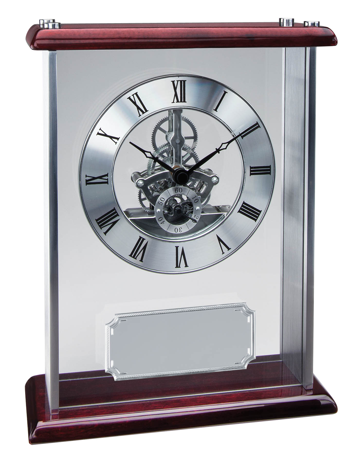 "Piano Finish Rosewood Clock - 9 3/4"" x 7 1/2"""