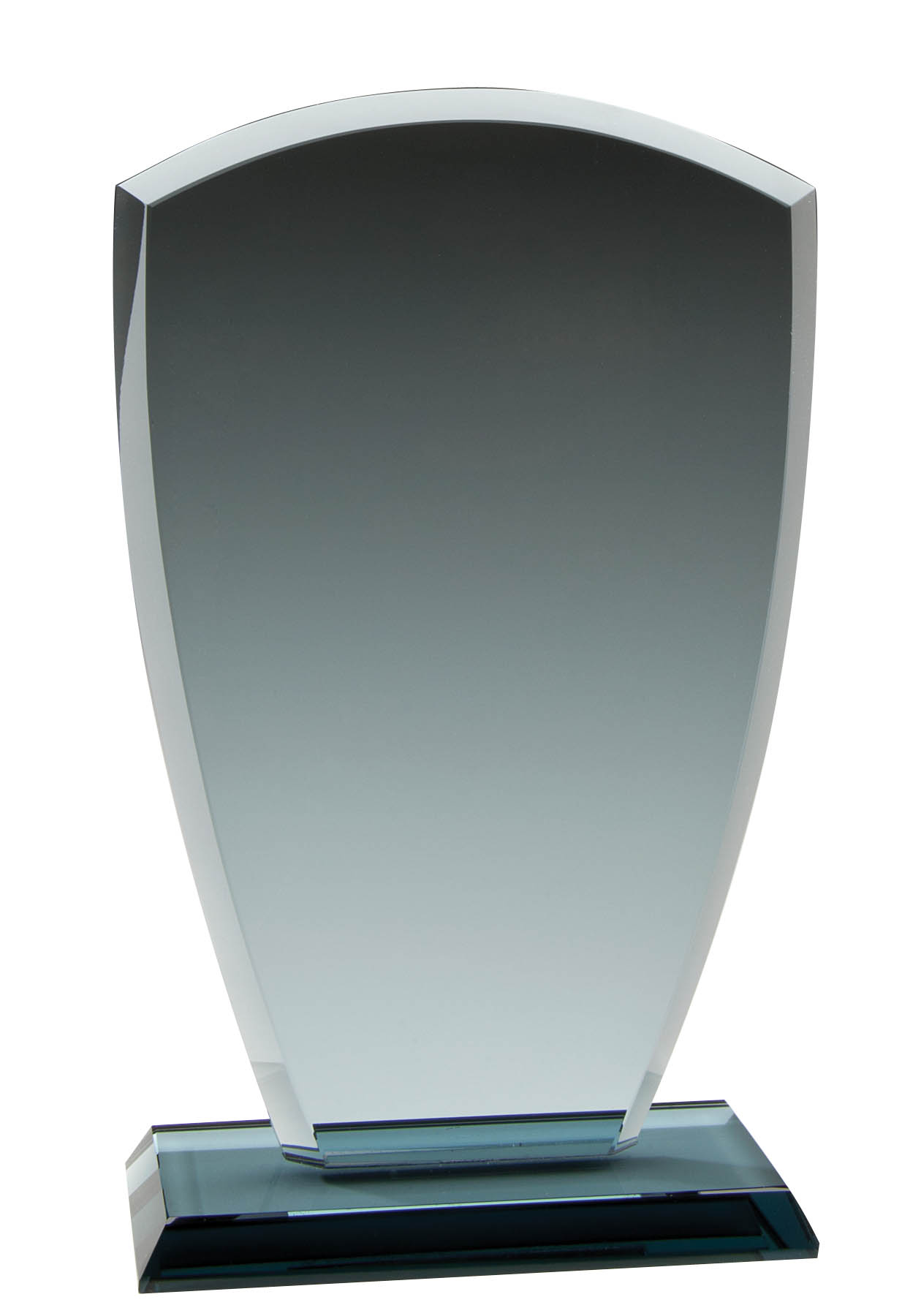 Smoke Glass Upright Plaque with Base - 8""