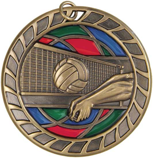 Volleyball Stained Glass Medal