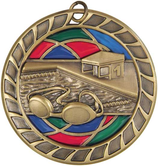 Swimming Stained Glass Medal