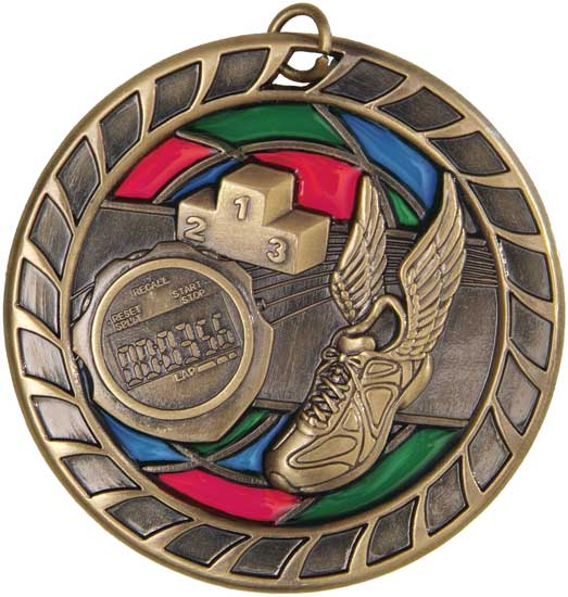 Track & Field Stained Glass Medal