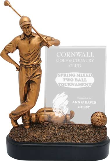 Male Golf Bronzetone Finish Award - 9""