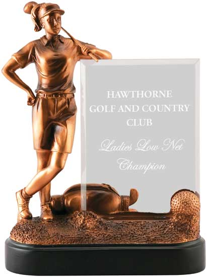 Ladies Golf Bronzetone Award - 9""