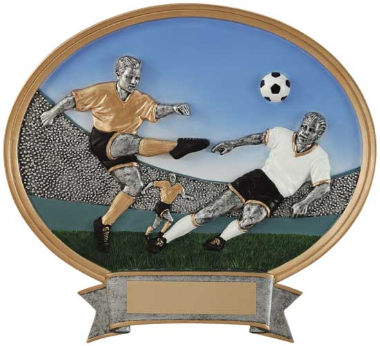 "Soccer Male Full Color Oval - 6"" x 6 1/2"""
