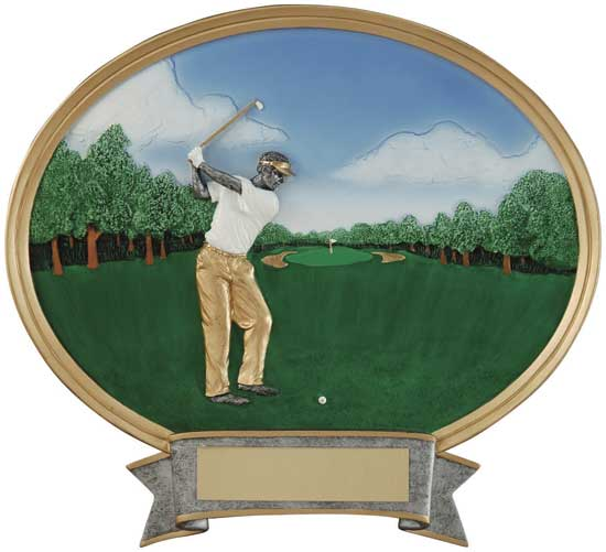"Golf Full Color Oval Award - Female 6"" x 6 1/2"""