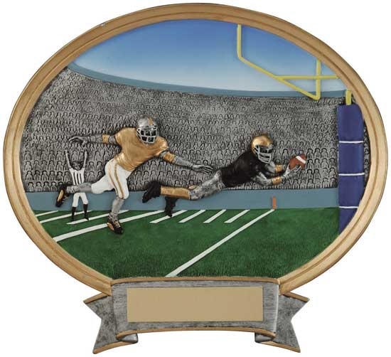 "Football Full Color Oval Award - 6"" x 6 1/2"""
