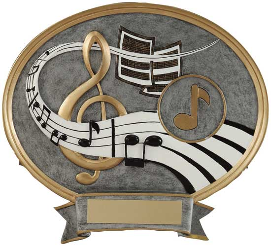 "Music Full Color Oval Award - 8"" x 8 1/2"""