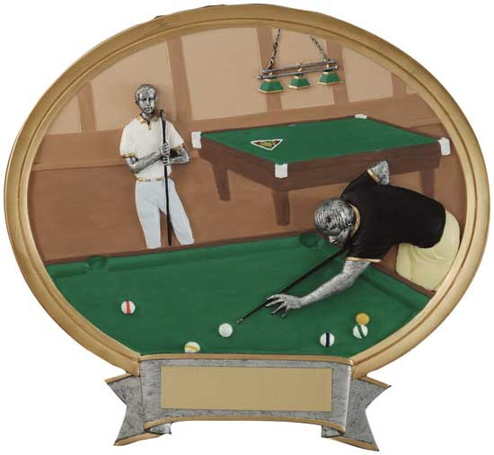 "Billiards Full Color Oval Award - 6"" x 6 1/2"""