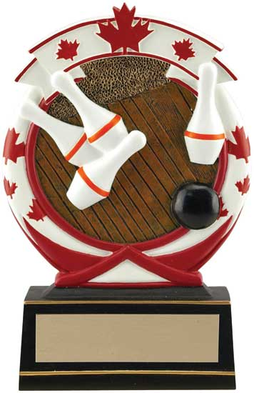 5 Pin Bowling Maple Leaf Award - 5 1/2""