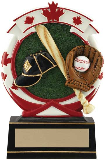 Baseball Maple Leaf Resin Award - 5 1/2""