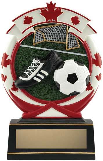 Soccer Maple Leaf Resin Award - 6 1/2""