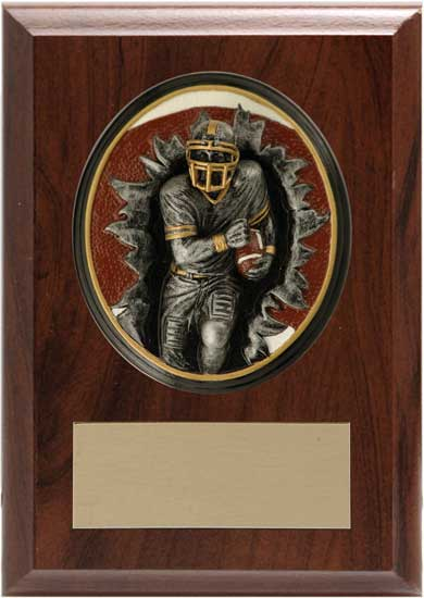 "Football Blow Out Plaque - 4 1/4"" x 6"""