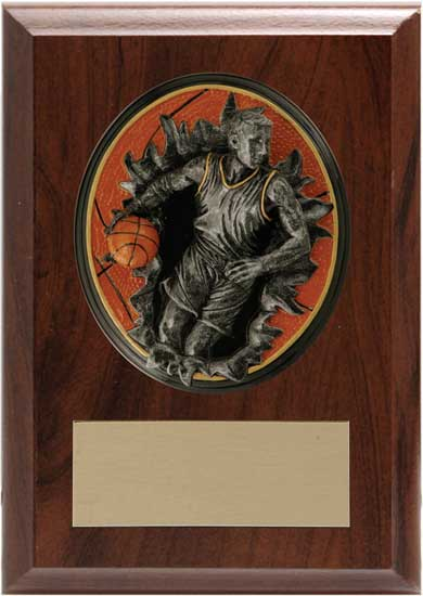 "Basketball Blow Out Plaque - 4 1/4"" x 6"""