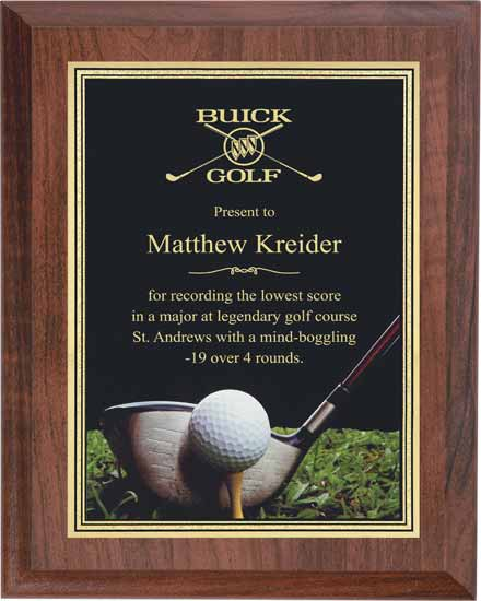"Golf Full Color Activity Plaque - 6"" x 8"""