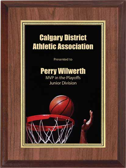 "Basketball Full Color Activity Plaque - 6"" x 8"""