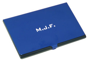 Blue Anodized Business Card Holders