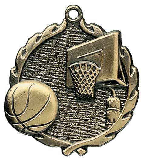 Basketball Die Cast Medal - 1 3/4""
