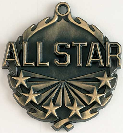 All Star Die Cast Medal - 1 3/4""