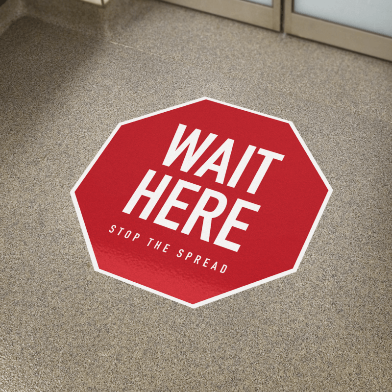 "Floor Decal - 18"" x 18"" WAIT HERE"